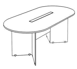 Oval Shape Table V-panel legs